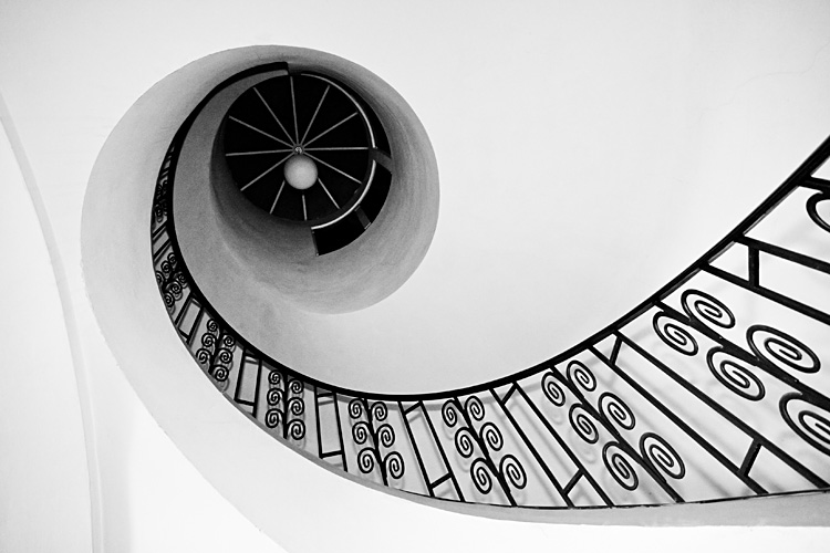 Image of stairwell that forms the number 9.