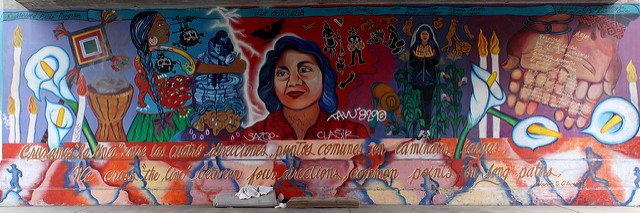 """La Ofrenda"": Dolores Huerta Mural by Yreina Cervántez' Los Angeles, Toluca at the First Avenue Bridge. The daughter of a migrant worker, Dolores Huerta was the first female Mexican American union leader. The text is mostly from poet, Gloria Alvarez, including the poem on the hands:"