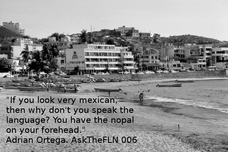 """Image of Mazatlan from 1981 with quote """" If you look very mexican, then why don't you speak the language? You have the nopal on your forehead."""""""
