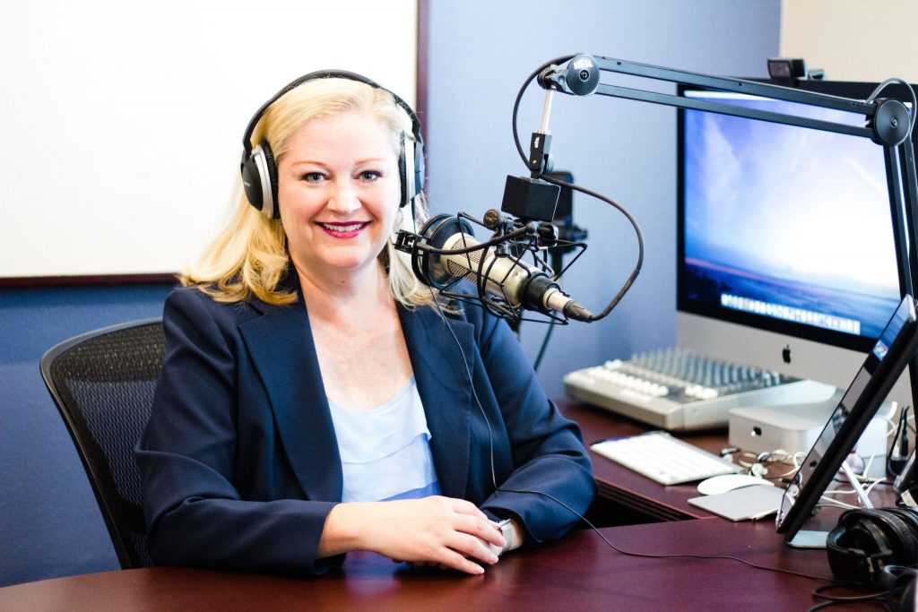 Bonni Stachowiak in her podcasting studio