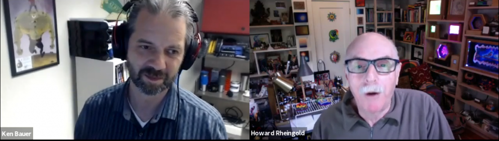 Screen grab of myself and Howard from my interview with Howard Rheingold on November 27, 2019.